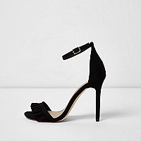 Black frill strap barely there sandals