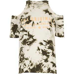 Khaki tie dye originals cold shoulder T-shirt