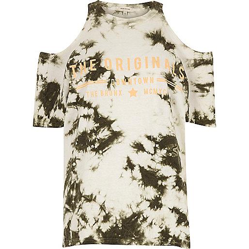 Khaki tie dye originals cold shoulder T-shirt