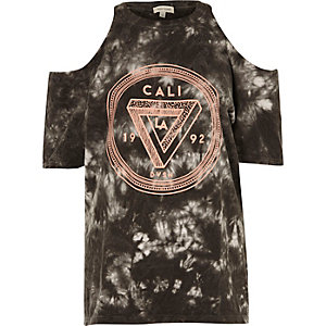 Black tie dye Cali cold shoulder T-shirt