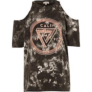 Zwart tie-dye Cali schouderloos T-shirt