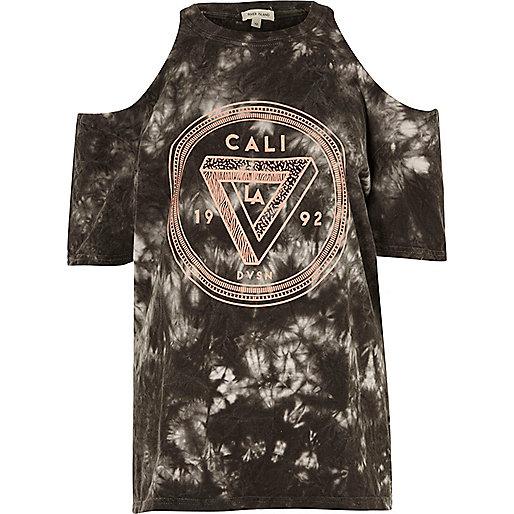 Black tie dye Cali cold shoulder T-shirt