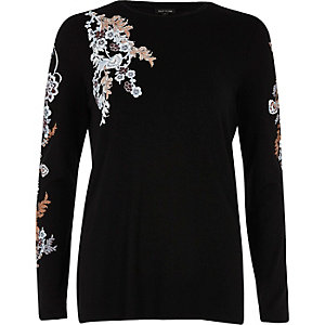 Black floral print long sleeve top