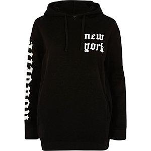 Black 'New York' print hoodie