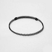 Ras-de-cou en fil métallisé noir style années 90