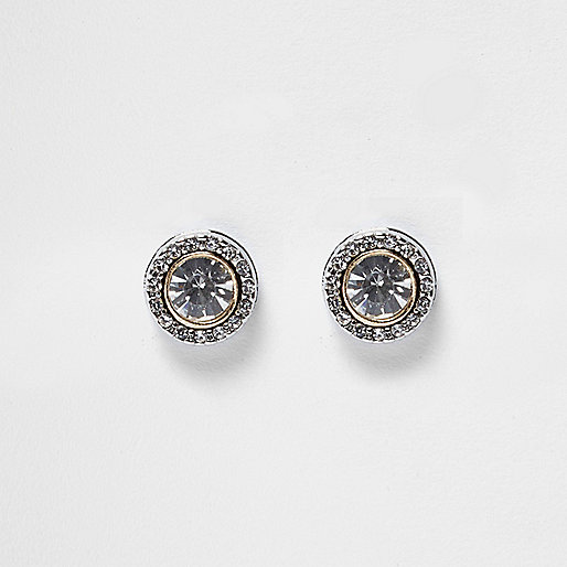 Silver tone rhinestone stud earrings