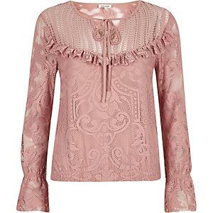 Pink lace frill bib top