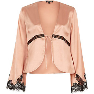 Pink flared sleeve lace trim pyjama shirt