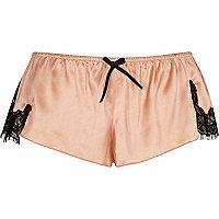 Pink satin lace pyjama shorts