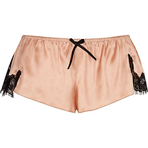 Pink satin lace pajama shorts