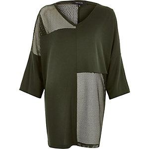 T-shirt oversize vert kaki à empiècement en tulle