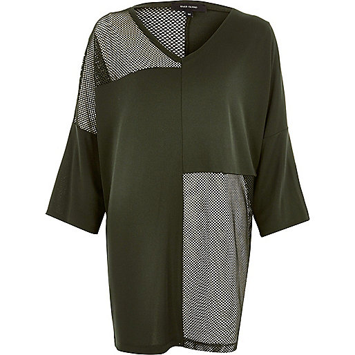 Khaki green oversized mesh panel T-shirt