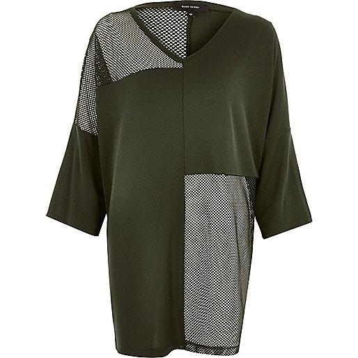 Khaki green oversized mesh panel T-shirt