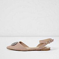 Spitze, verzierte Schuhe mit Fersenriemen