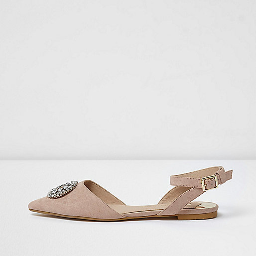 Pink embellished pointed slingback shoes