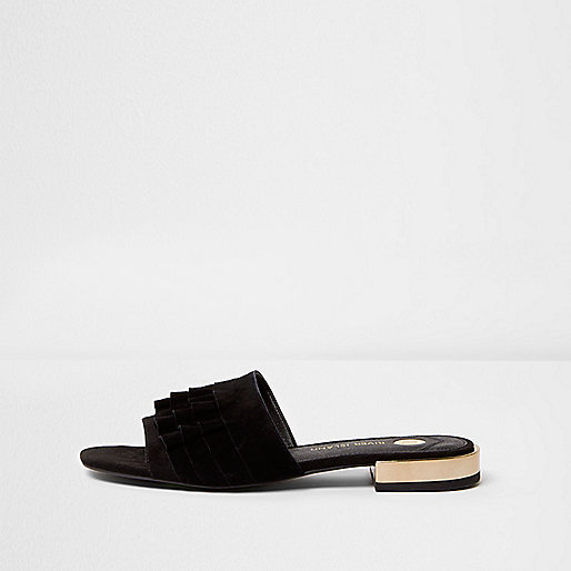 Black suede frill mules