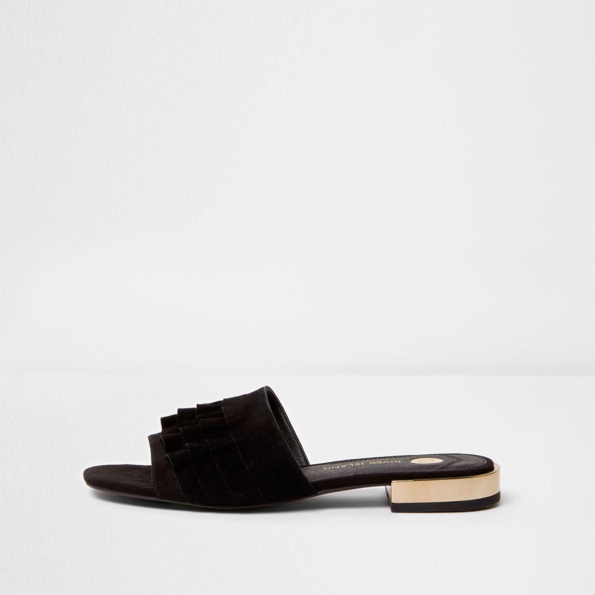 Black suede frill mules