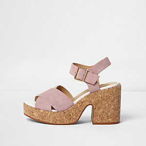 Pink cross strap cork block heel sandals