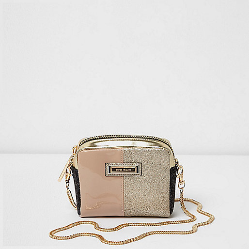 Gold glitter mini cross body chain bag