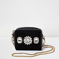 Black diamante mini cross body chain bag
