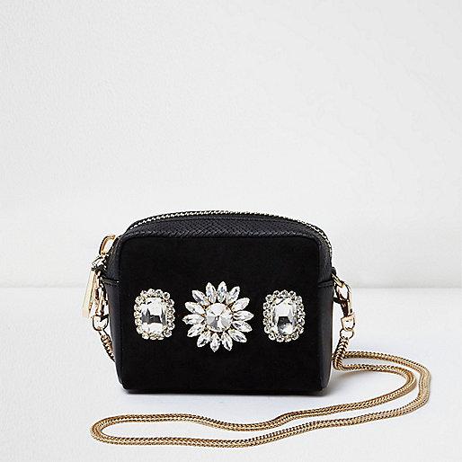 Black diamante mini cross body chain bag