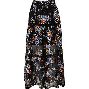Black chiffon floral print tiered maxi skirt