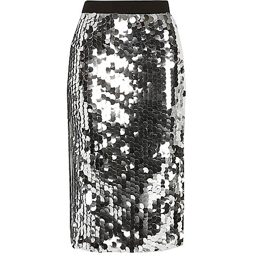 Silver sequin midi pencil skirt