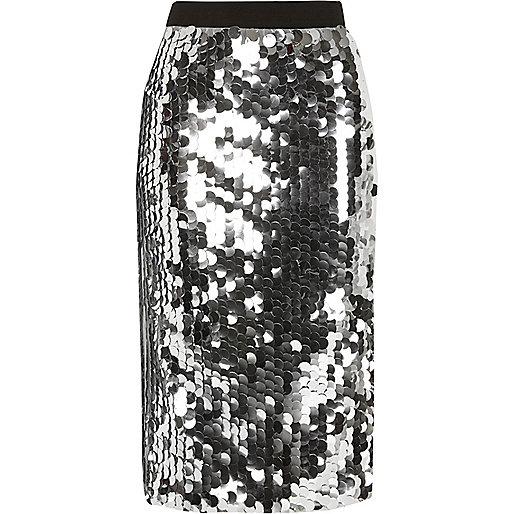 Silver sequin midi pencil skirt