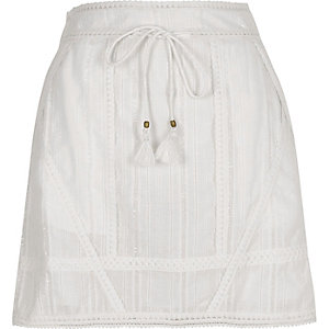 White crochet tie waist mini skirt