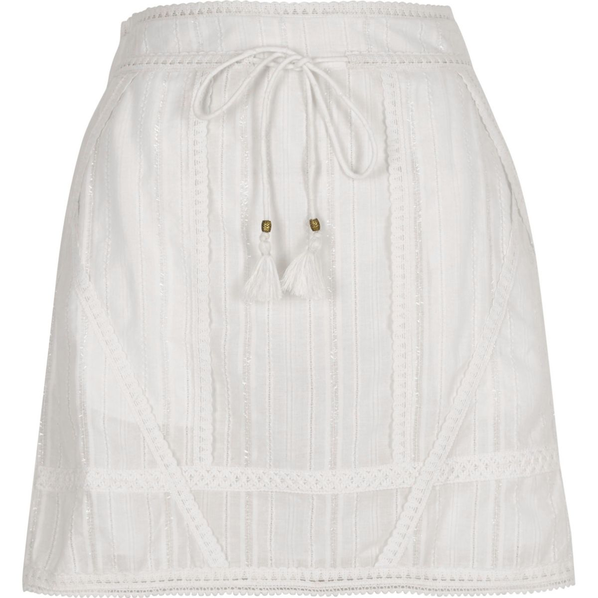 White crochet tie waist mini skirt