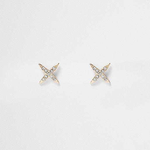 Gold tone rhinestone cross stud earrings