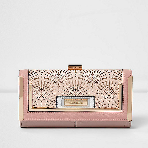 Pink laser cut clip top purse