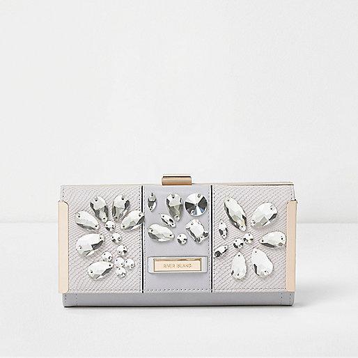 Grey gem embellished clip top purse