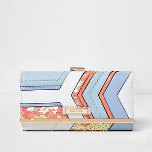 Blauwe portemonnee met druksluiting en lovertjes