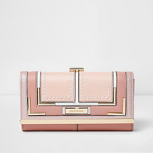 Pink panel clip top foldover purse