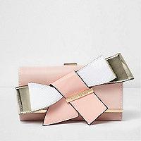 Pink 3D bow clip top foldover purse