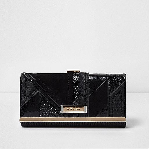 Black panel clip top purse
