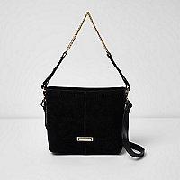 Black chain handle mini bucket bag