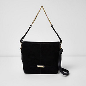 Black chain handle mini bucket bag