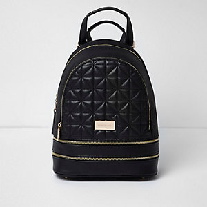 Black double zip quilted backpack