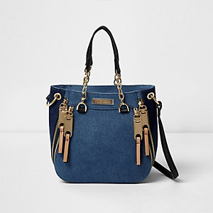 Blue denim zip front mini tote bag