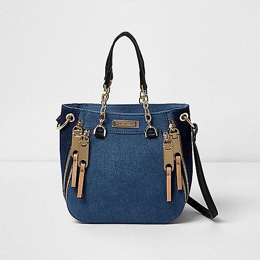 Blue denim zip front mini tote bag