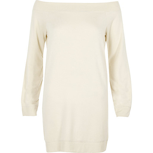 Cream bardot sweater dress