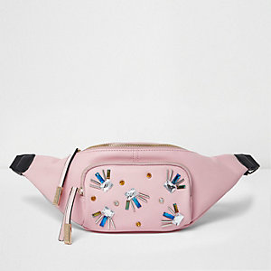 Pink embellished bum bag