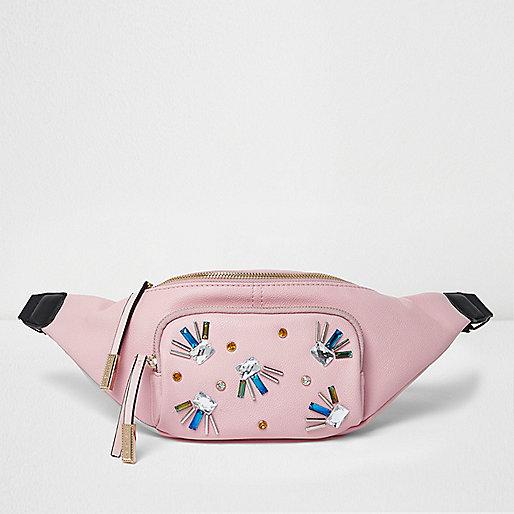 Pink embellished bum bag