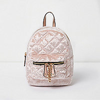 Light pink quilted crushed velvet backpack