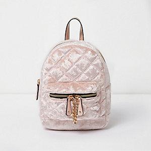 Light pink quilted crushed velvet backpack