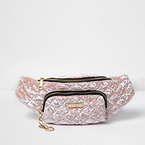 Light pink quilted velvet bum bag