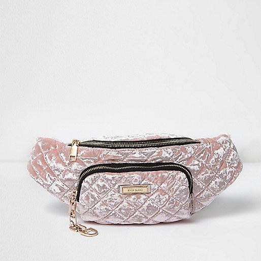 Light pink quilted velvet bum bag