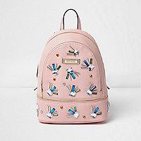 Pink jewel embellished mini backpack